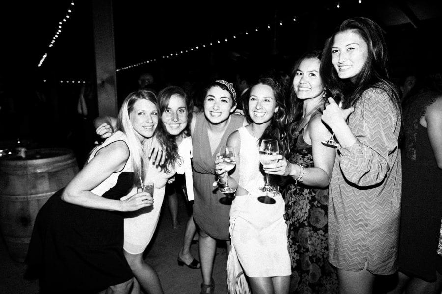 girls posing at reception