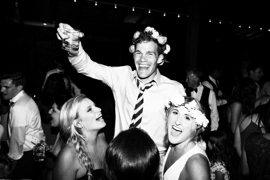 dancing with flower crowns and drinks