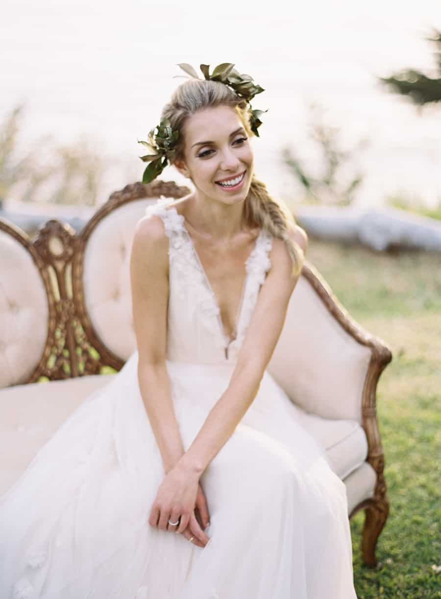 candid shot of bride sitting