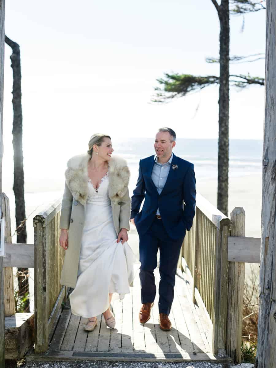 PNW wedding bride in fur coat