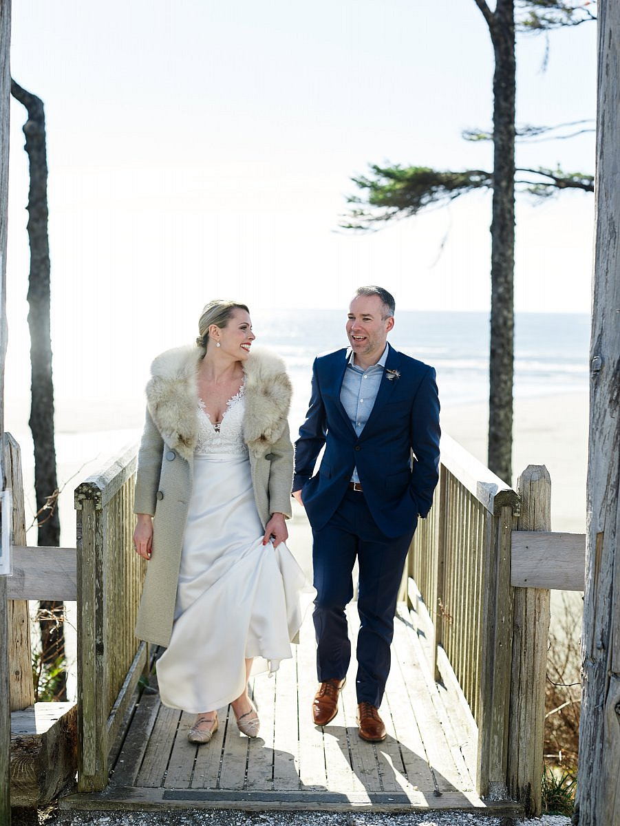 PNW wedding bride in fur coat