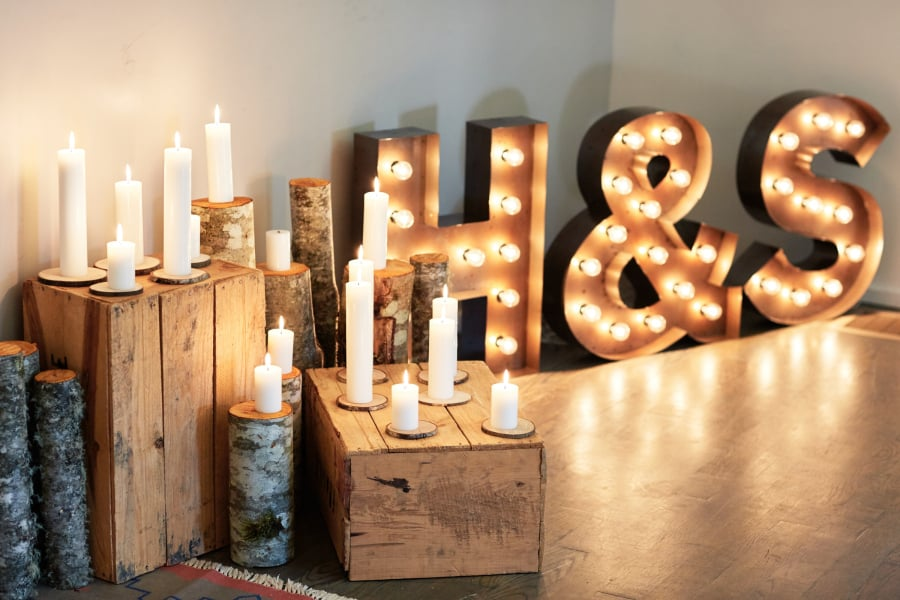 candles and vintage metal letters