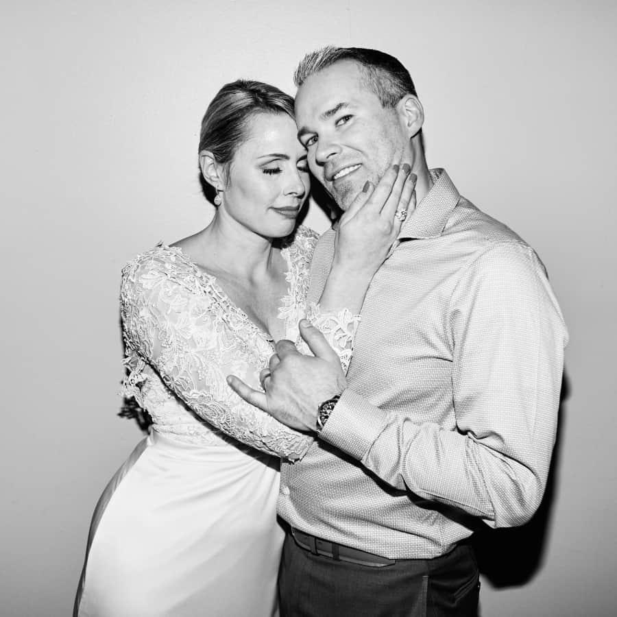 flash portrait of couple