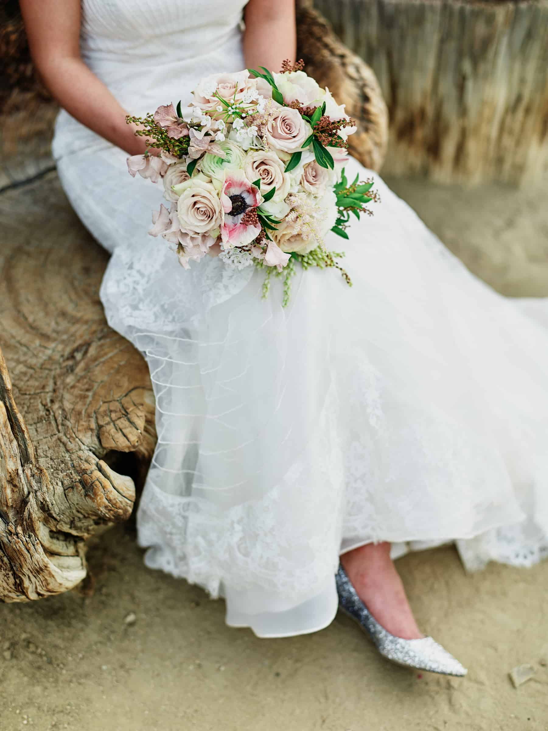 bouquet, dress and glitter shoes