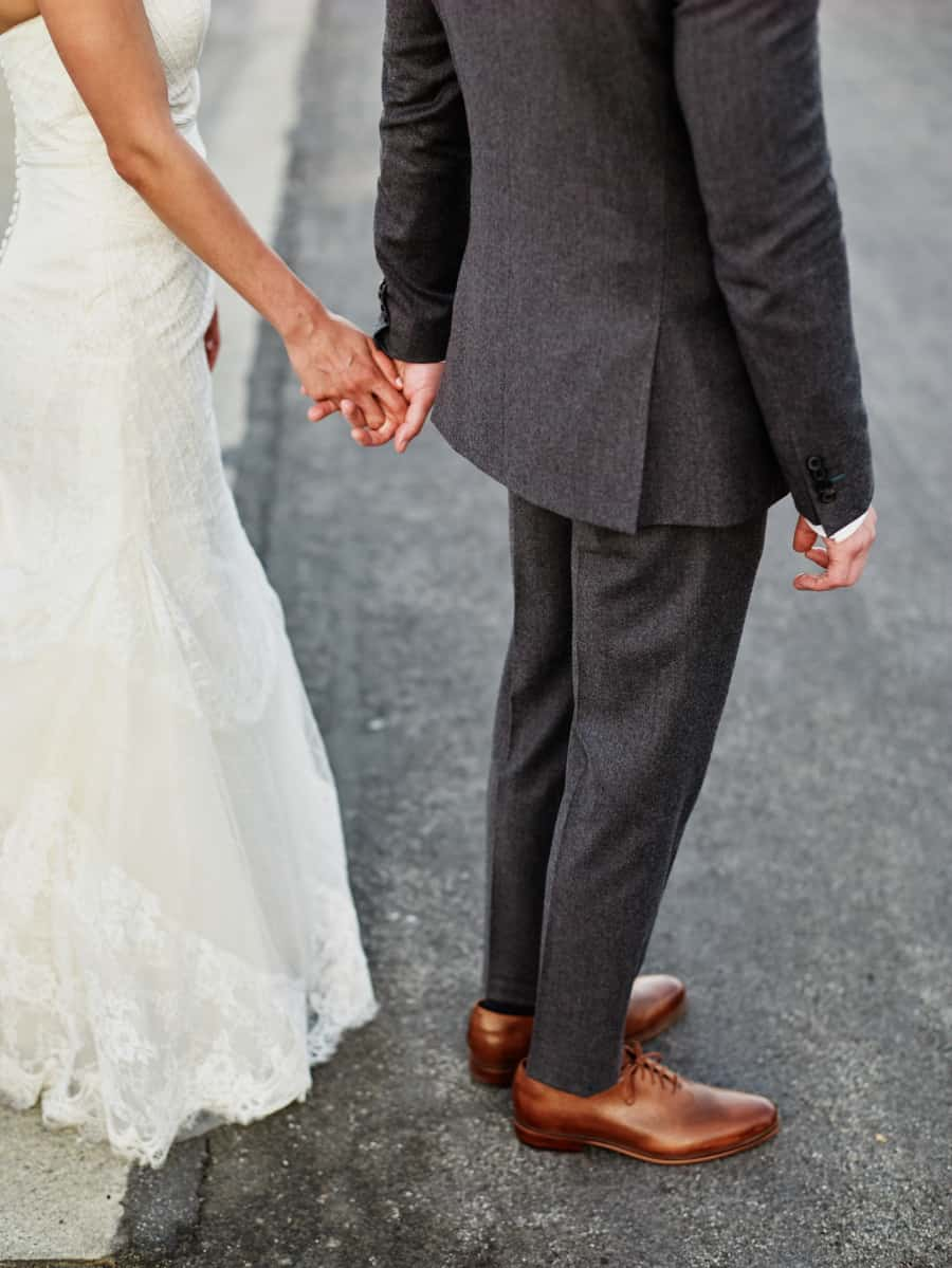 groom fitted gray suit