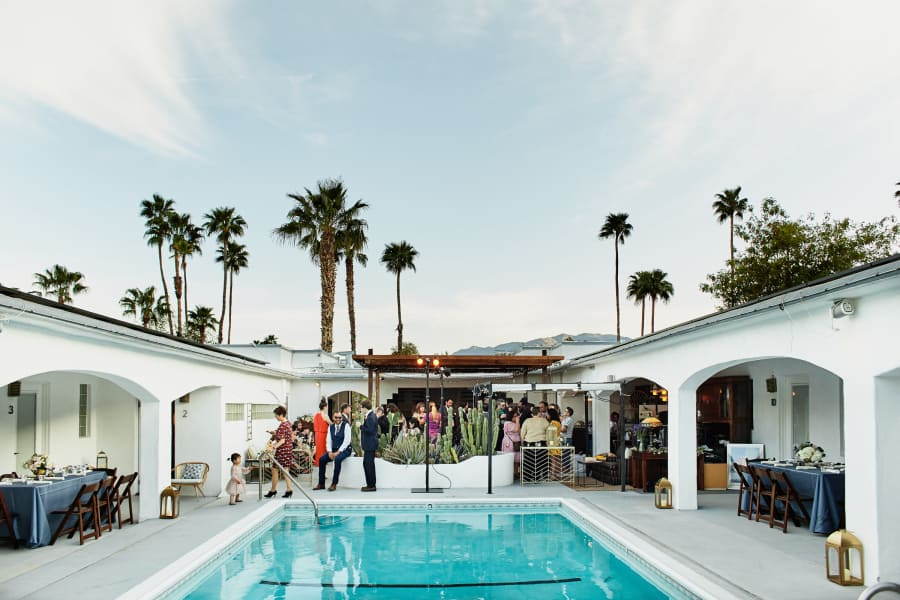 pool cocktail hour small intimate wedding