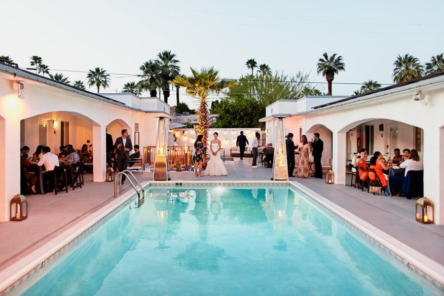 wedding pool dinner intimate wedding