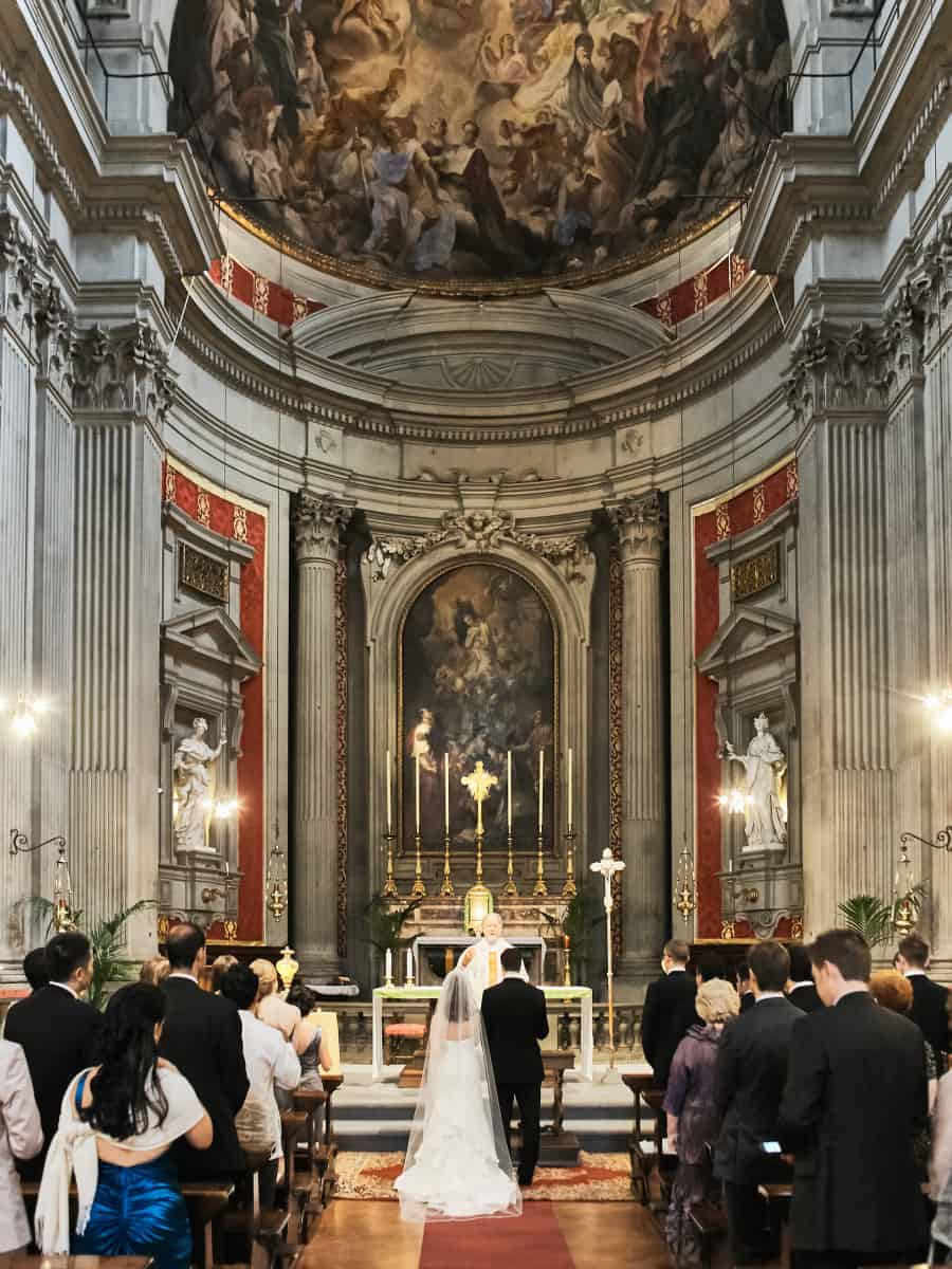 church ceremony at destination wedding in Italy