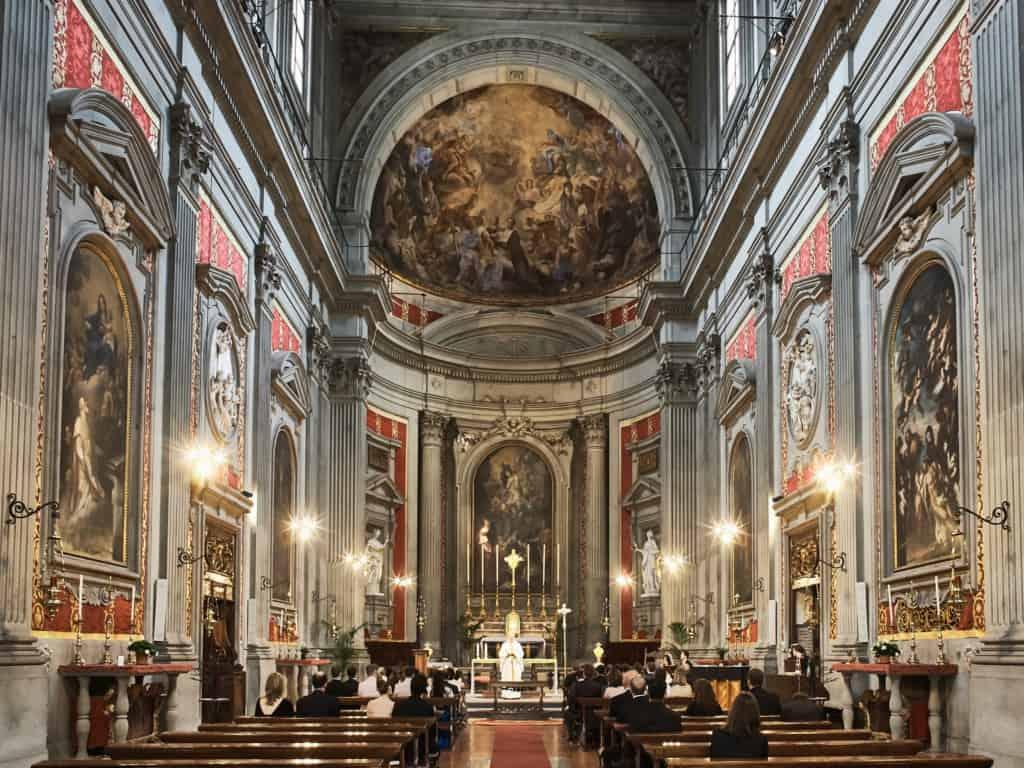 wedding ceremony at Santa Trinita church in Florence Italy