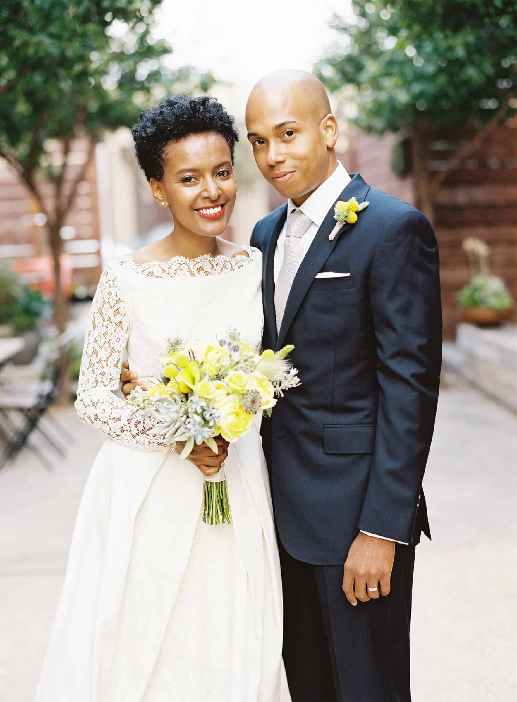 african american wedding portrait