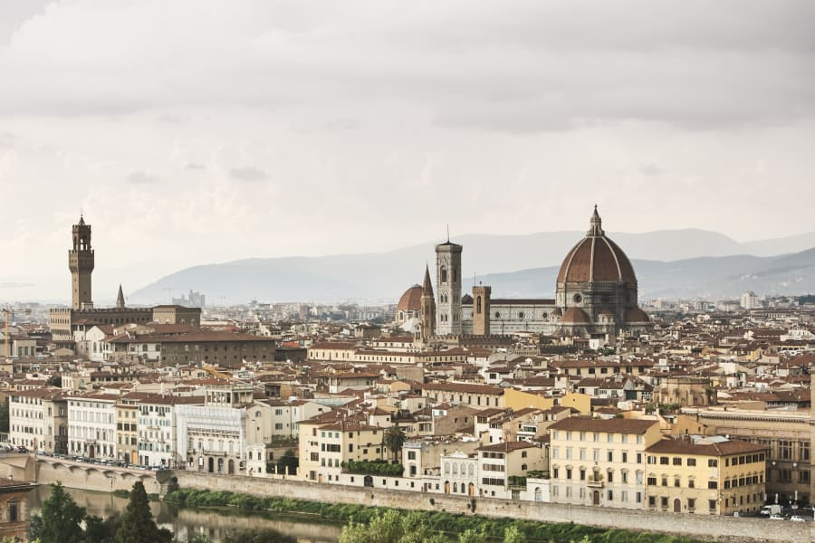 view of Florence Italy and the Duomo