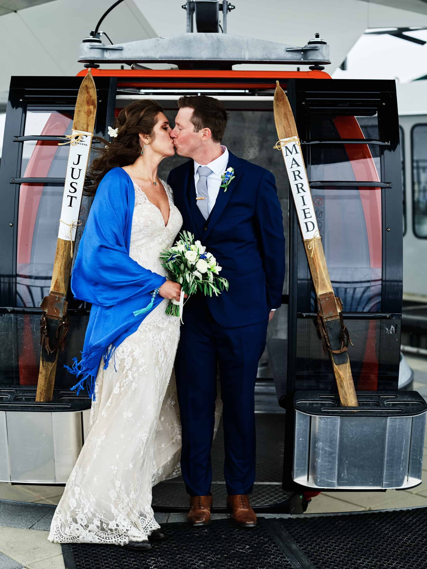 just married gondola portrait
