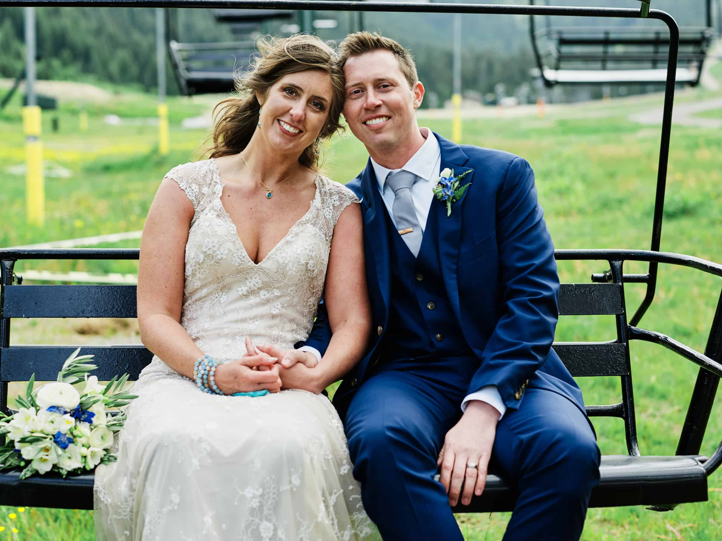 chair lift wedding photo