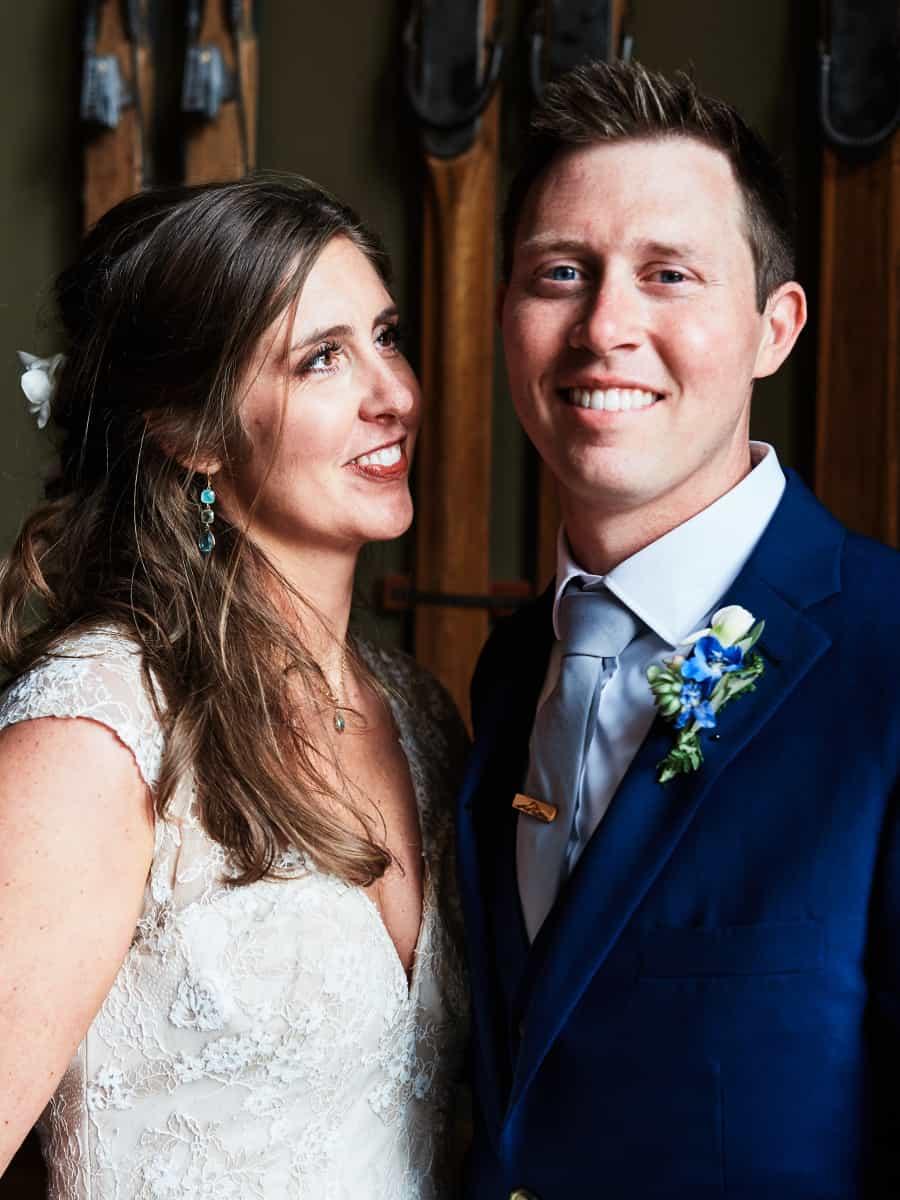 indoor portrait of bride and groom