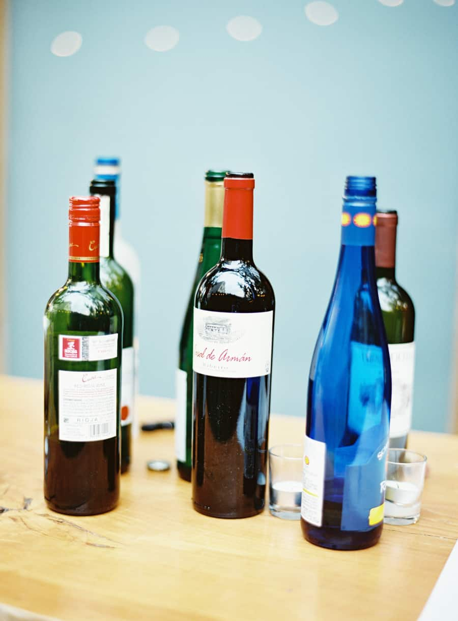 blue and green wine bottles