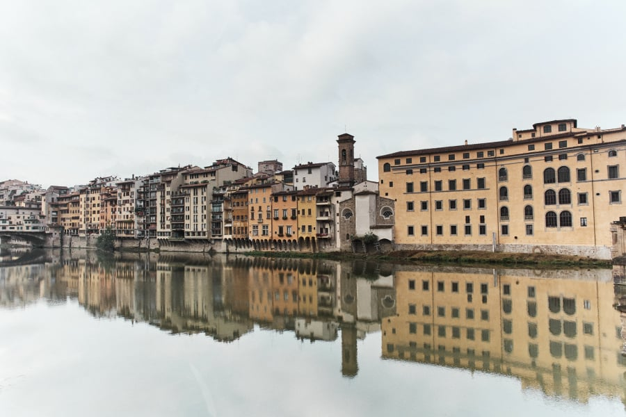 Old buildings on the Arno river in Florence Itealy
