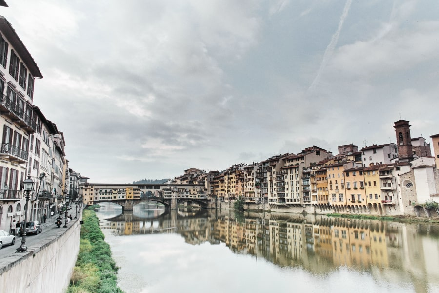 Ponte Vecchio and Arno river in Florence Italy