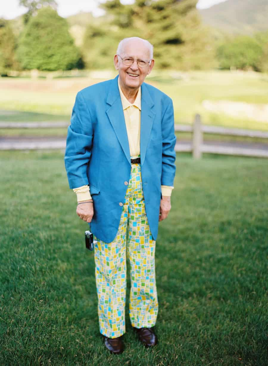old man in a stylish colorful suit