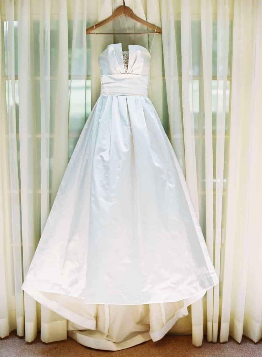 Amsale wedding dress hanging