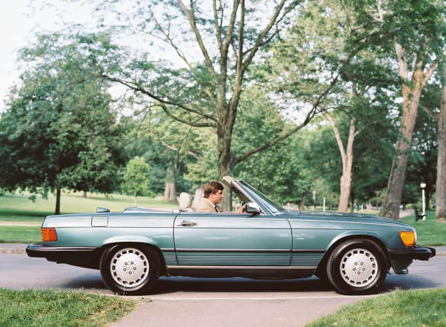 wedding getaway car vintage mercedes-benz