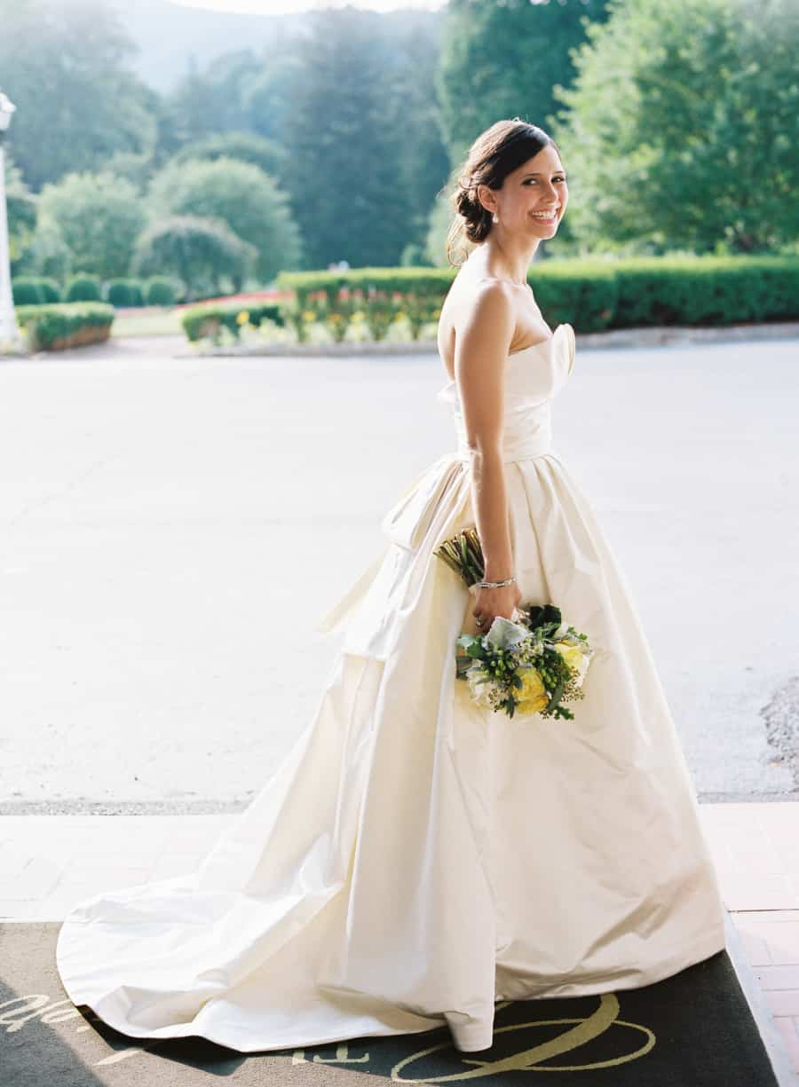 bridal portrait in an Amsale dress