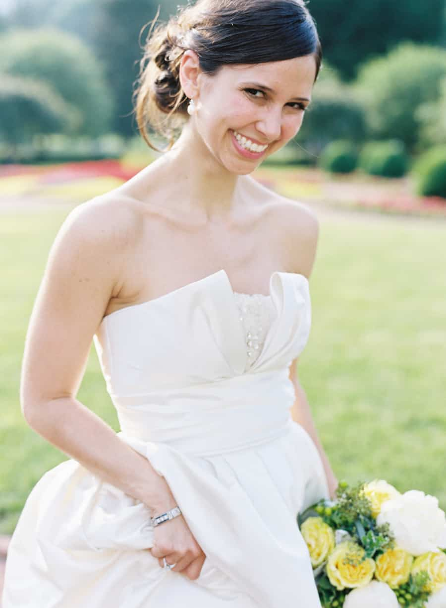 bride in Amsale dress at Greenbrier Resort