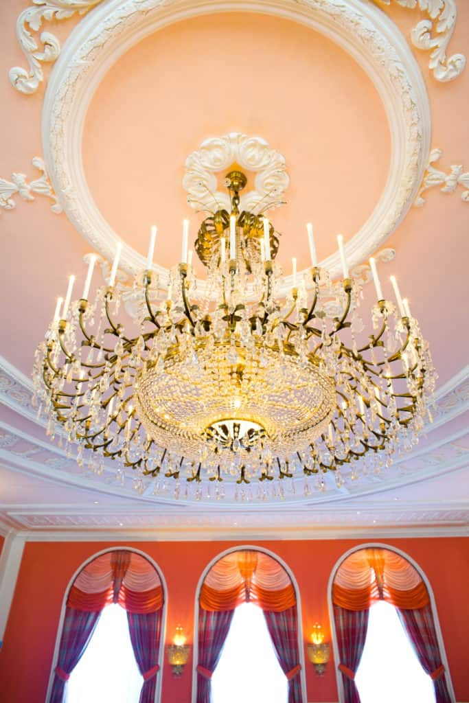 giant chandelier in the Cameo ballroom at the Greenbrier Resort