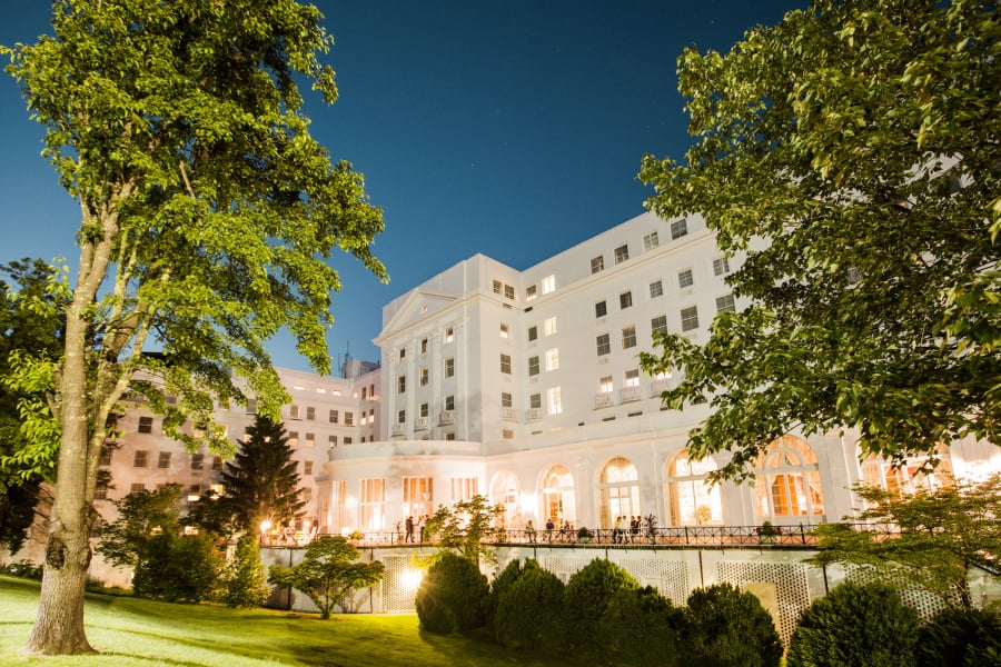 greenbrier resort at night