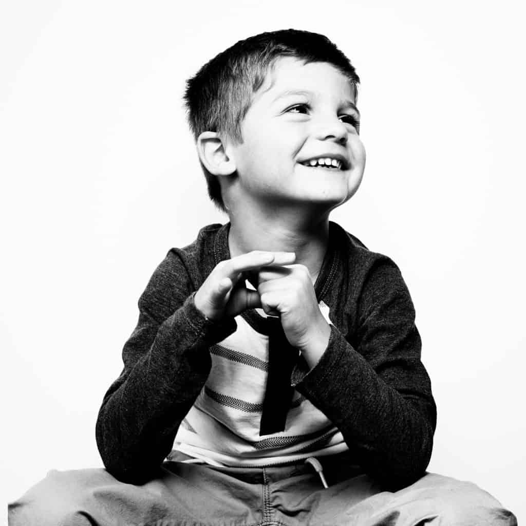 black and white kid studio portrait