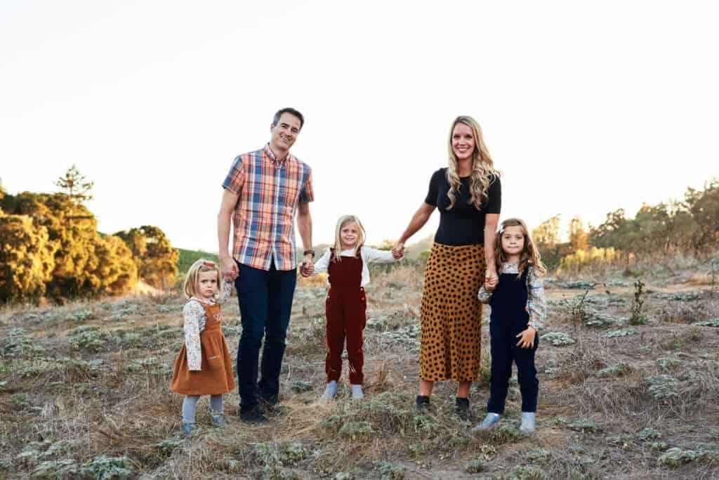 family photo at magic hour